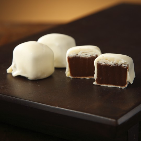 Chocolate Caramel Dipped in White Chocolate